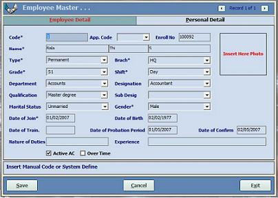 Biometric time attendance system / software